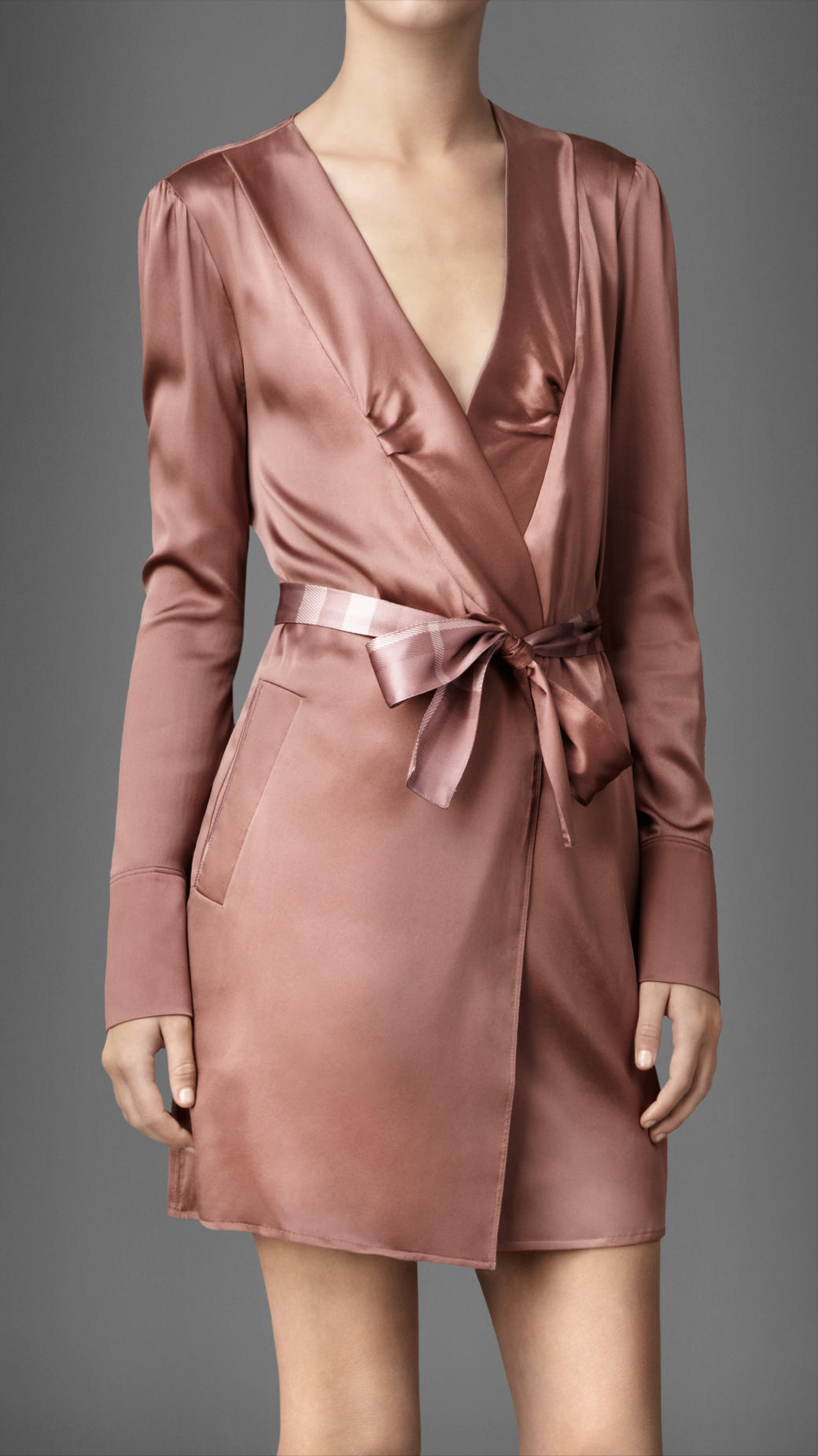 Lyst - Burberry Stretch Silk Dressing Gown in Pink