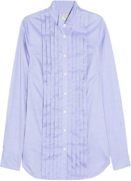J crew blue thomas mason pleated cotton shirt lyst for Thomas mason dress shirts