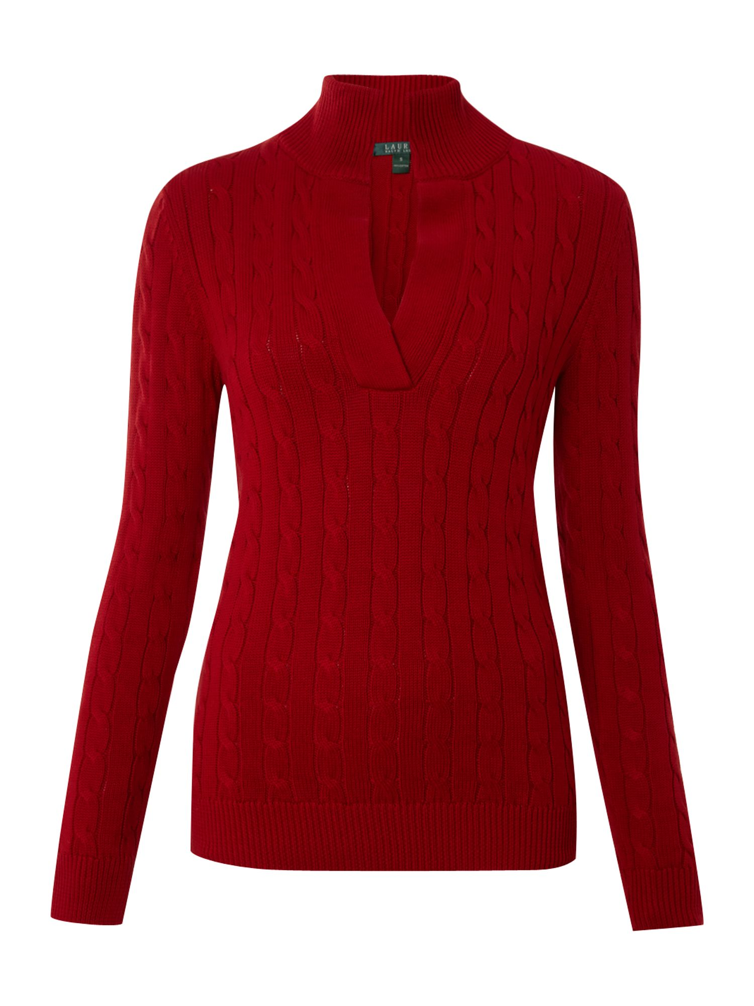 lauren by ralph lauren long sleeve vneck cable knit jumper with collar in red lyst. Black Bedroom Furniture Sets. Home Design Ideas