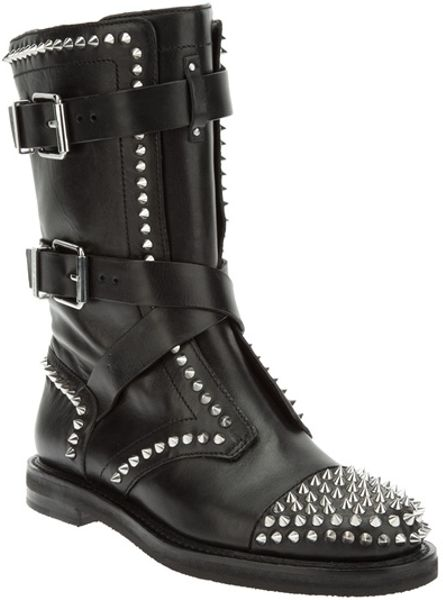 Pierre Balmain Spiked Biker Boot in Black - Lyst