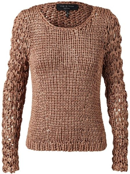 Rag & Bone Chunky Knitted Sweater in Brown (bronze) - Lyst