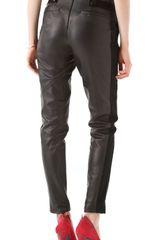 Rebecca Minkoff Leather Combo Pleated Pants in Black - Lyst
