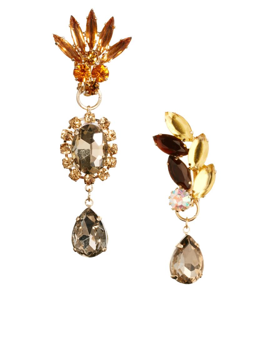 Asos Mismatch Jewel Opulent Earrings in Metallic