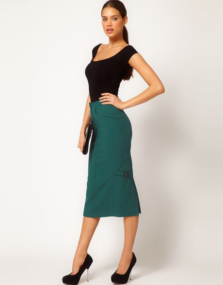 asos collection midi pencil skirt with buckles in green
