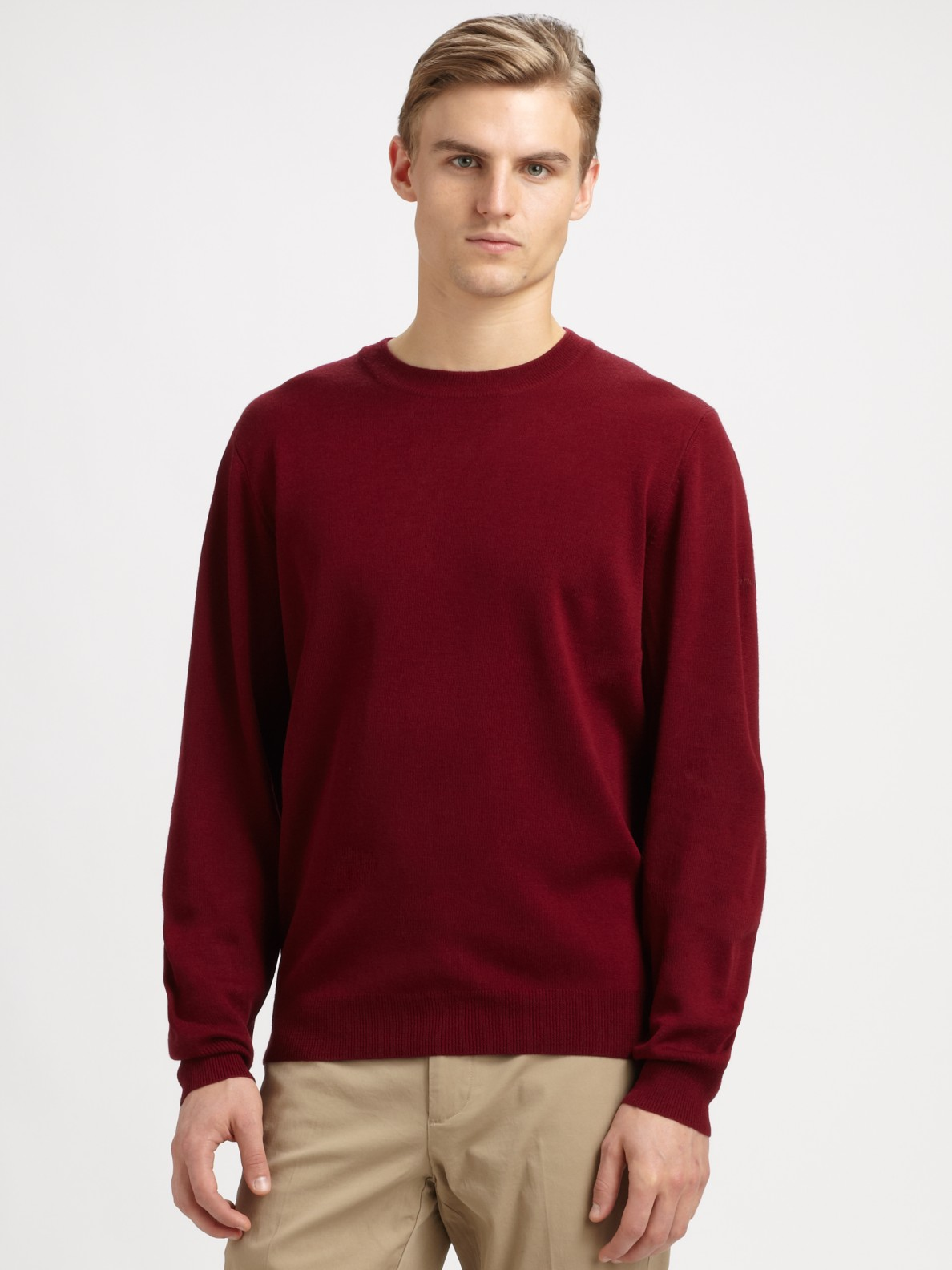 Façonnable Crew Neck Sweater in Red for Men | Lyst