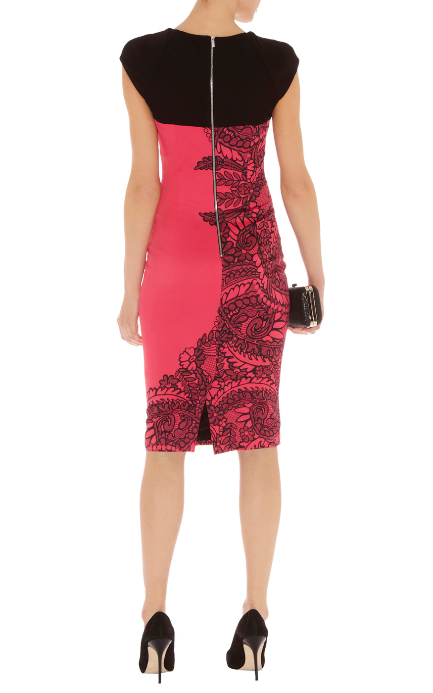 karen millen lace print dress in pink lyst. Black Bedroom Furniture Sets. Home Design Ideas