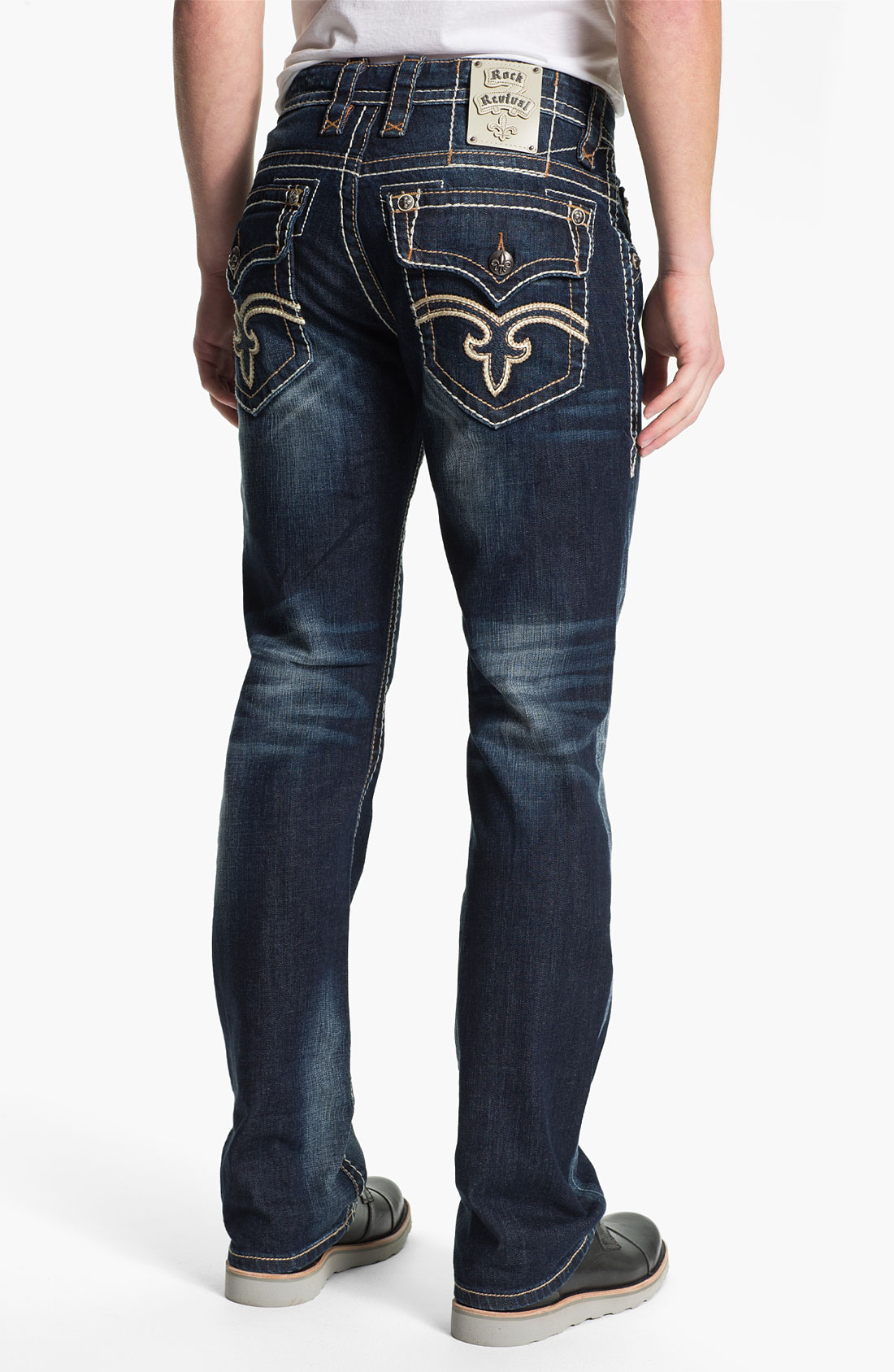 Rock Revival Tucker Straight Leg Jeans In Blue For Men (medium Blue) | Lyst
