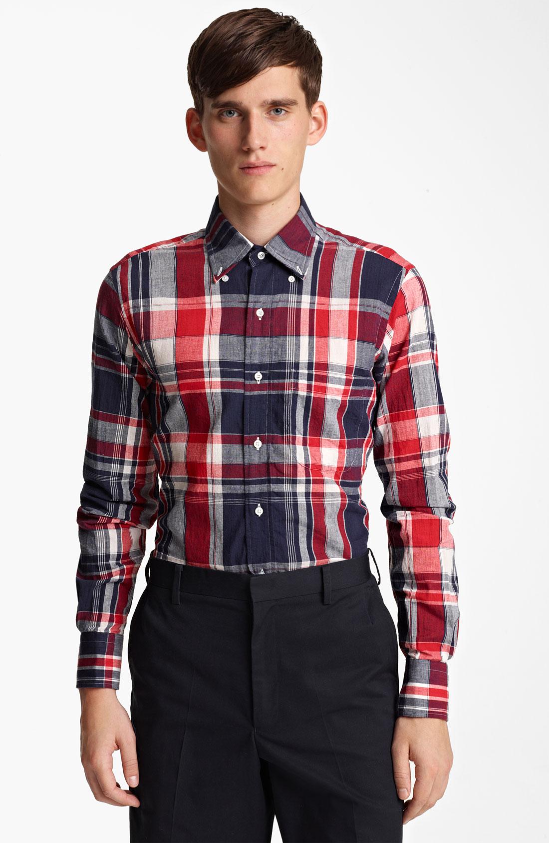 Thom browne madras plaid cotton shirt in blue for men for Navy blue plaid shirt