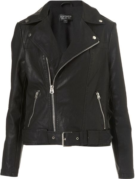 Topshop Oversized Belted Biker Jacket in Black