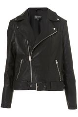 Topshop Oversized Belted Biker Jacket in Black - Lyst