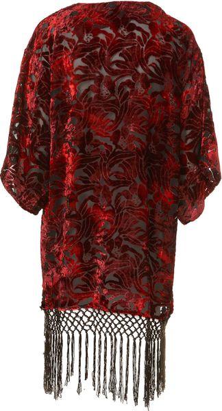 Topshop Fringe Devore Kimono In Red Lyst