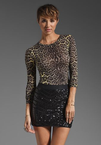 BCBGMAXAZRIA Long Sleeve Animal Print Top - Lyst