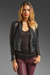 Parker Leather Mesh Panel Jacket - Lyst