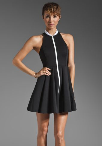 T By Alexander Wang Neoprene Rib Collared Tank Dress - Lyst