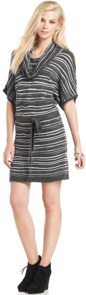 Calvin Klein Jeans Short Sleeve Striped Knit Sweater Dress - Lyst