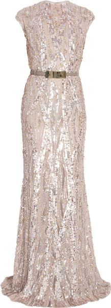 Elie Saab Fully Sequin Gown in Pink