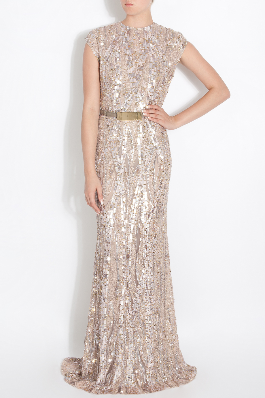 Elie Saab Fully Sequin Gown In Pink Lyst