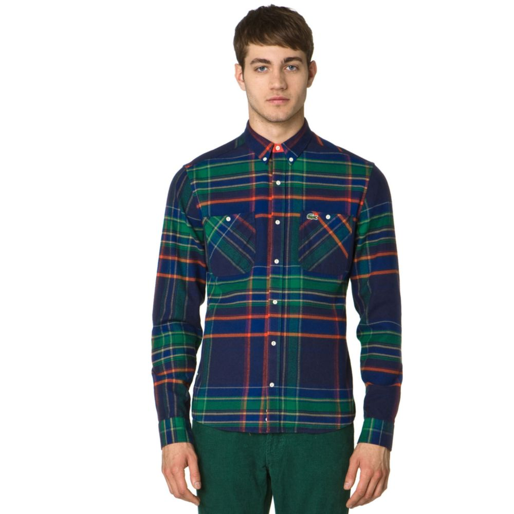 Lacoste Button Down Flannel Plaid Shirt In Green For Men