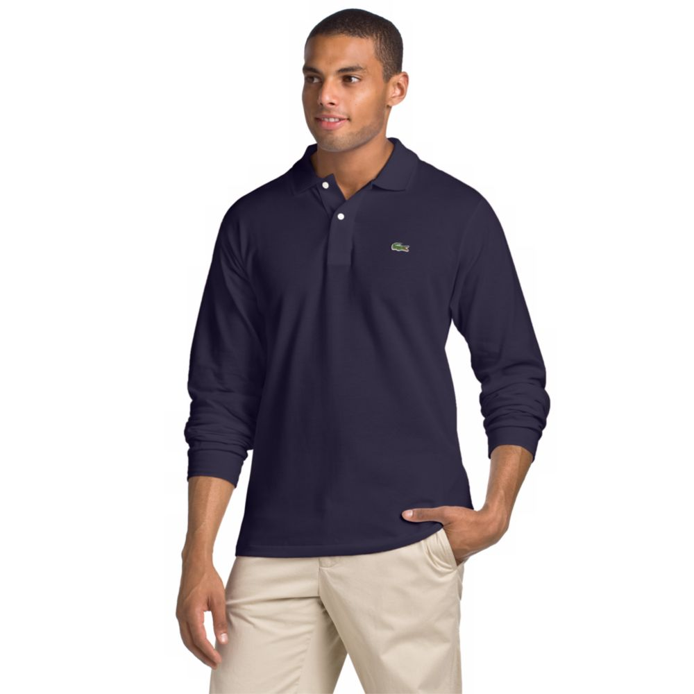 Lacoste Long Sleeve Polo Shirt In Blue For Men Navy Blue