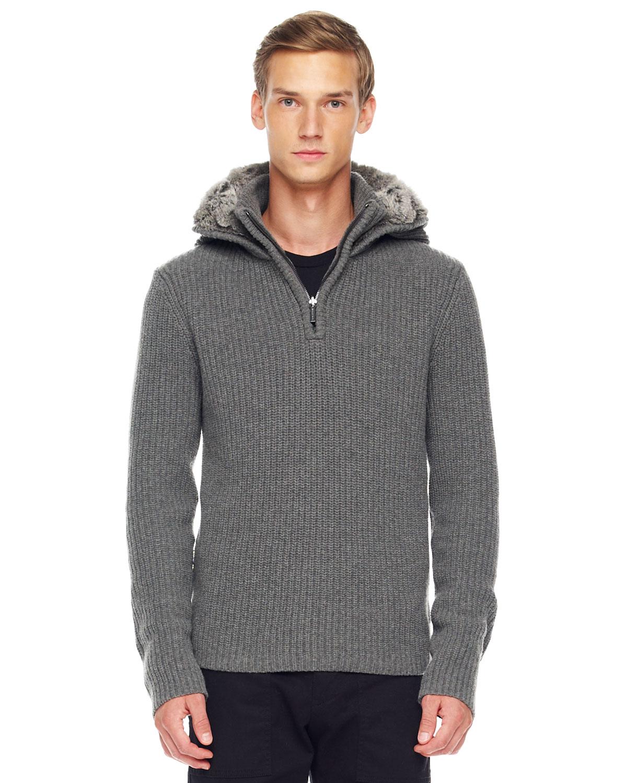 Lyst - Michael Kors Rabbit Fur Lined Hoodie In Gray For Men-4779
