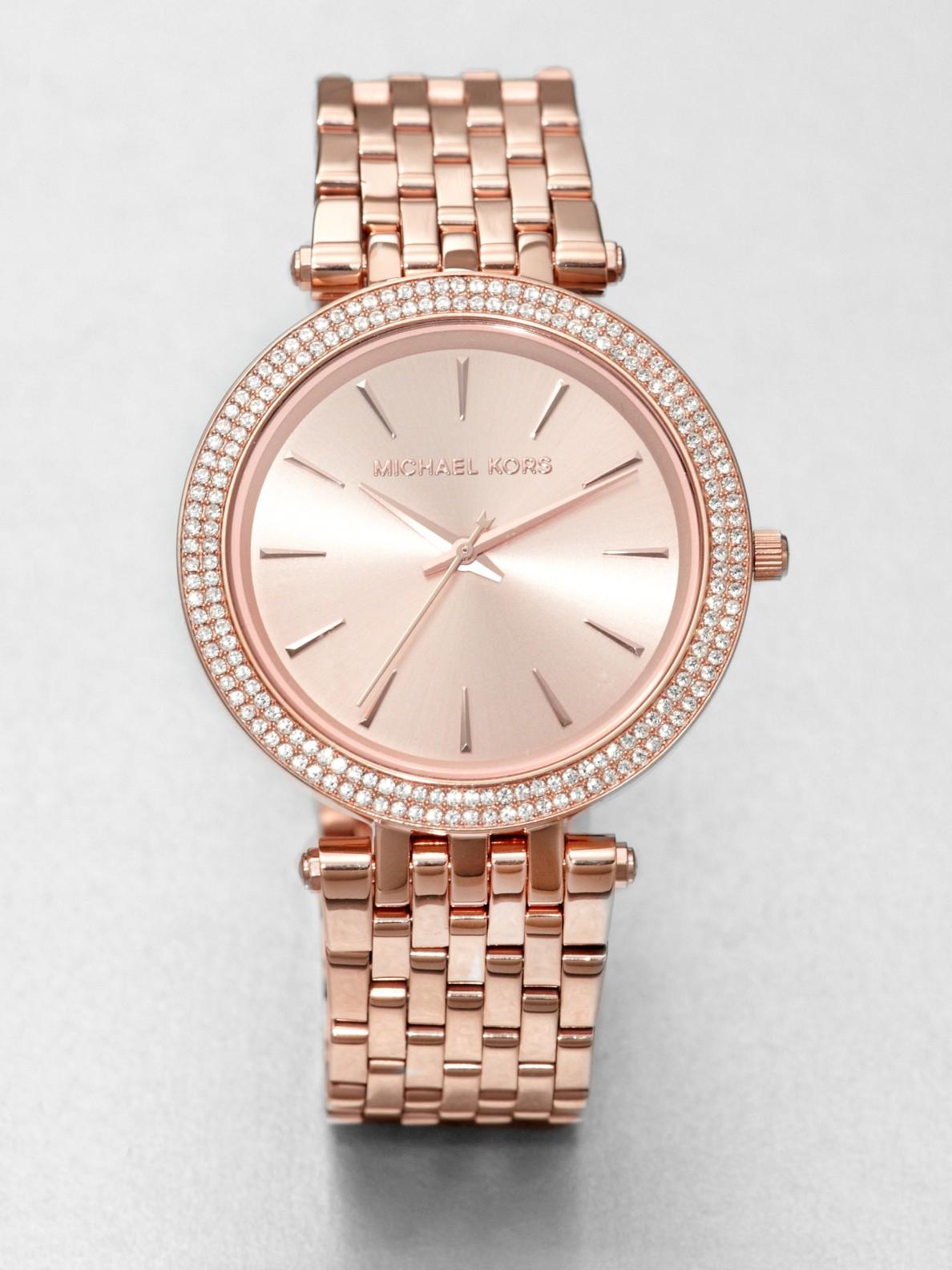 Michael Kors Rose Gold Watch With Rhinestones