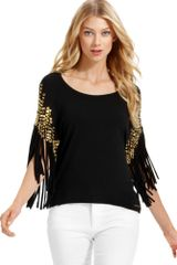 Michael Kors  Fringe Studded Scoop Neck Top