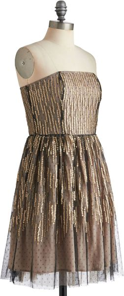 Modcloth Spot A Shooting Star Dress In Black Gold Lyst