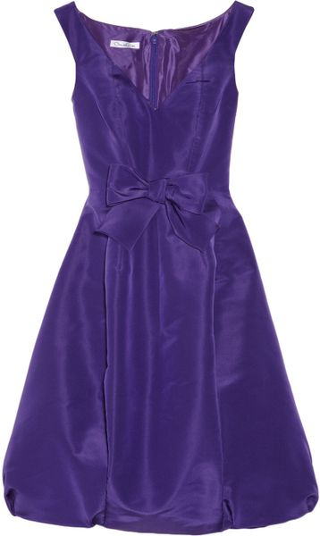 Oscar De La Renta Bow Embellished Silk Faille Dress in Purple (violet) - Lyst