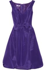 Oscar de la Renta Bow Embellished Silk Faille Dress - Lyst