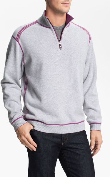 Tommy Bahama Flip Side Pro Half Zip Pullover In Purple For