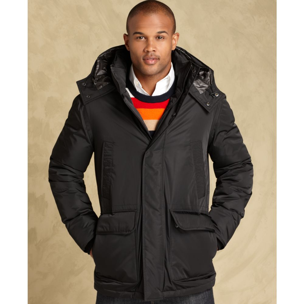 tommy hilfiger hooded parka in black for men lyst