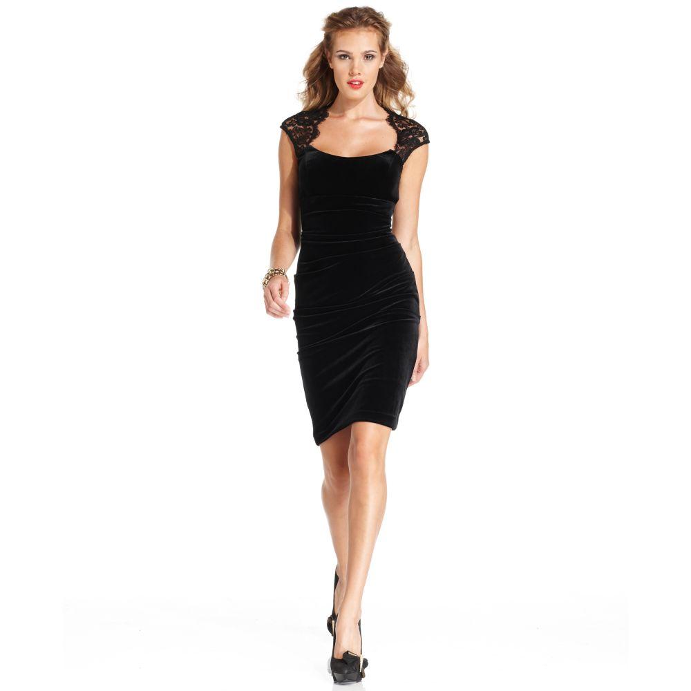 Xscape Sleeveless Lace Velvet Cocktail Dress in Black - Lyst