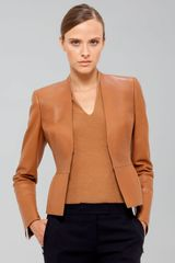 Akris Cropped Leather Peplum Jacket - Lyst