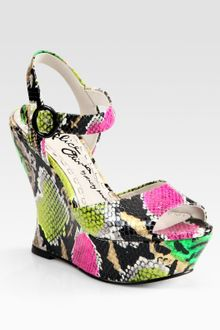 Alice + Olivia Jana Snakeprint Leather Wedge Sandals - Lyst