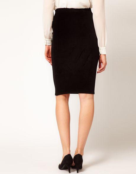 asos maternity velvet pencil skirt in black lyst