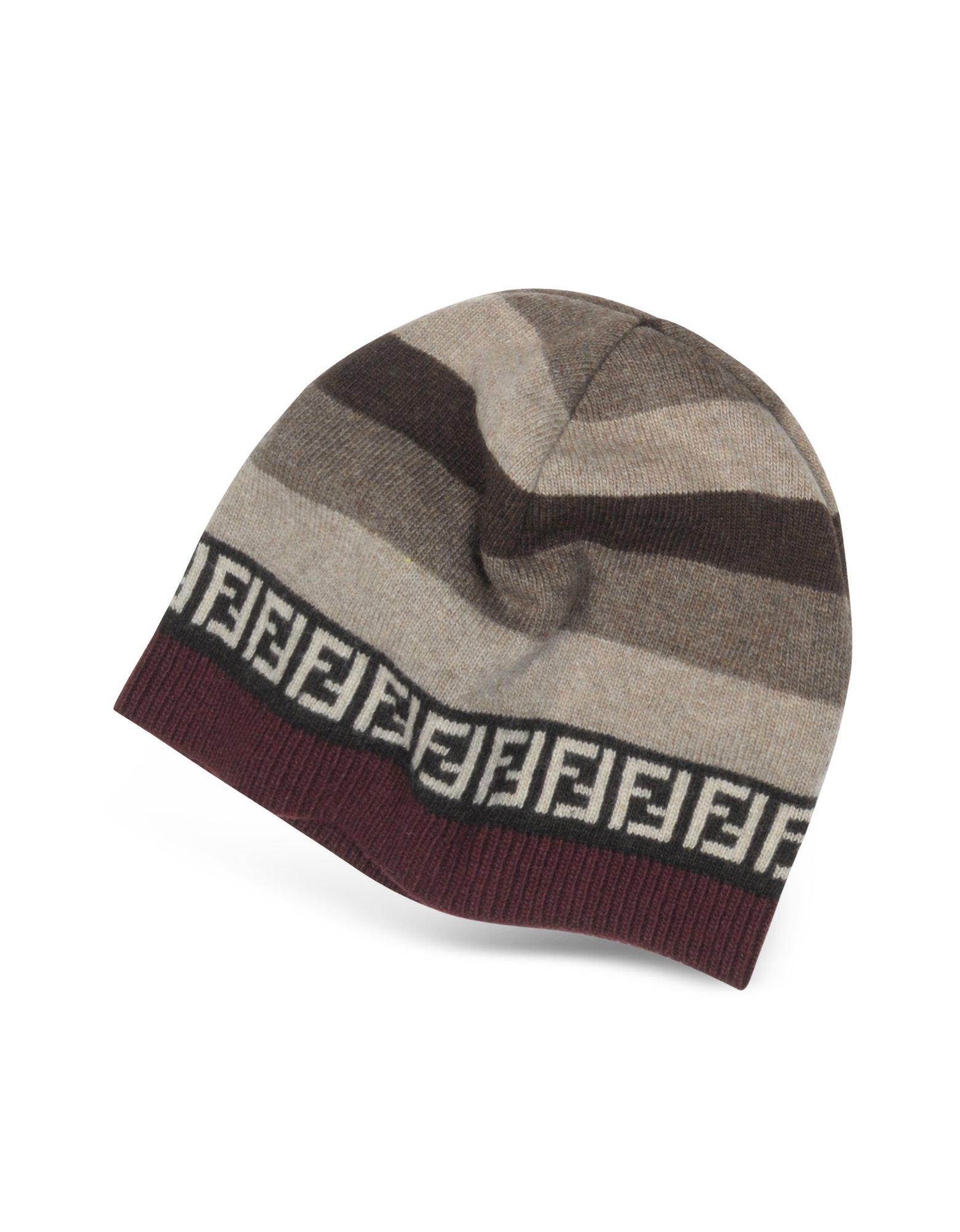 Lyst - Fendi Striped Zucca Logo Jacquard Knit Wool Skull Hat in Natural 1c23b7bd836