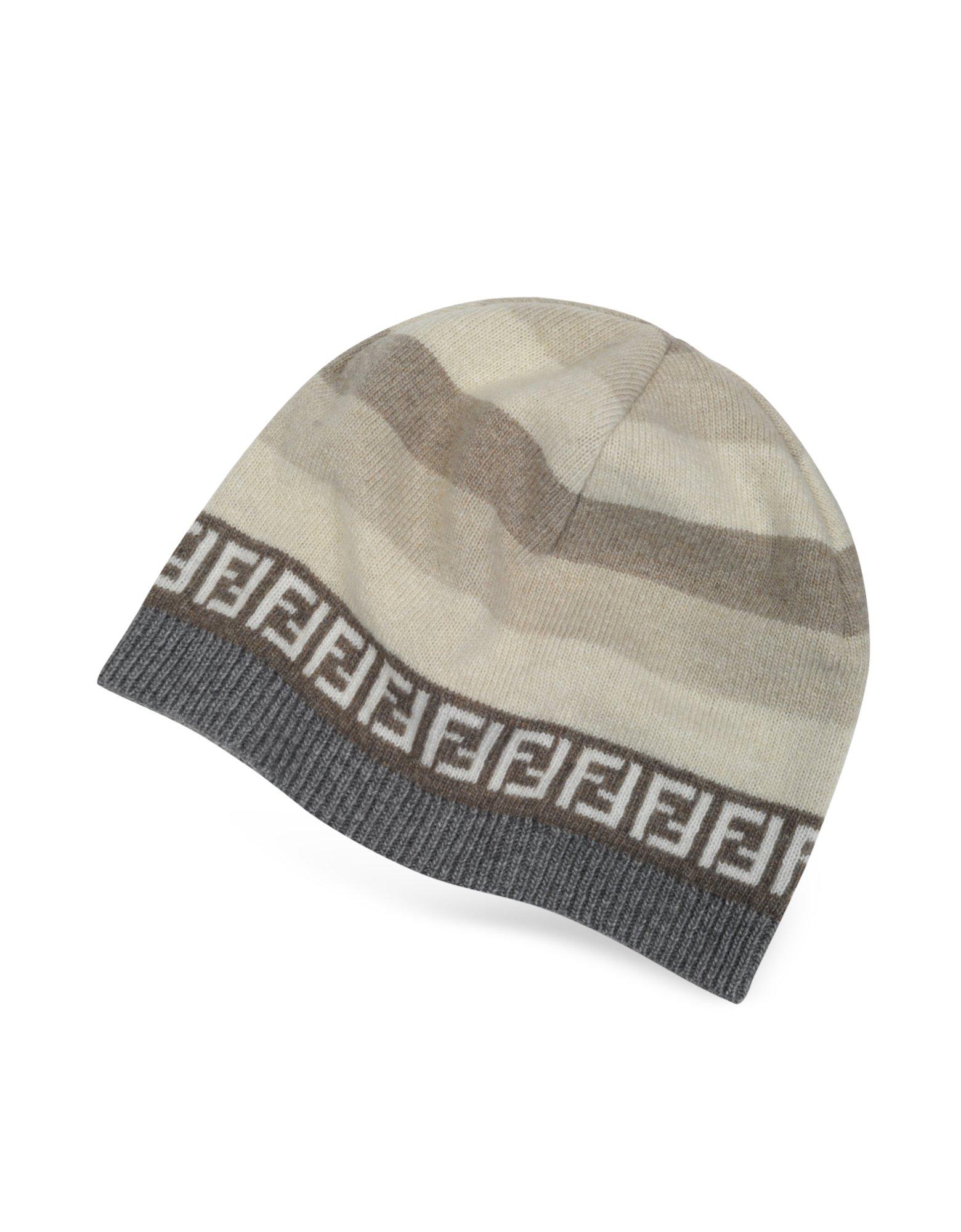 cefb6b6f62d Lyst - Fendi Striped Zucca Logo Jacquard Knit Wool Skull Hat in Natural