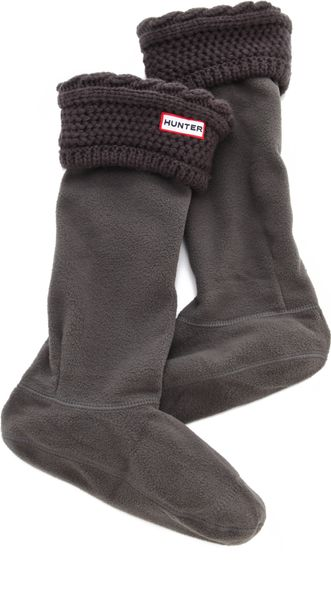 Hunter Fleece Cable Welly Socks - Lyst