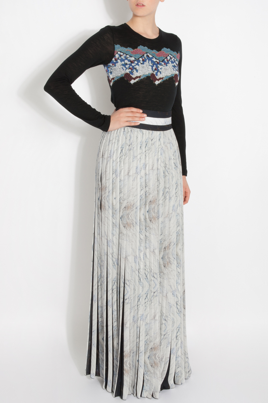 ec665b501e KENZO Pleated Maxi Skirt in Black - Lyst