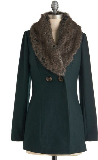 ModCloth Burn Brightly Coat in Evergreen - Lyst
