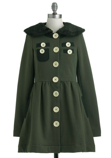 Modcloth A Thrill in The Air Coat in Green