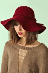 Nasty Gal Braided Wool Hat Wine - Lyst