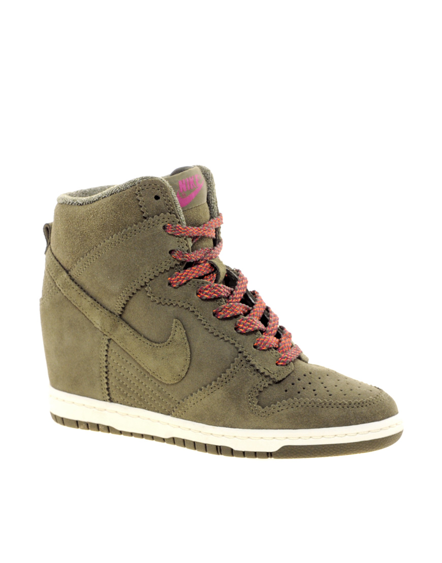 9904d431fbb0 Lyst - Nike Dunk Sky High Olive Wedge Trainers in Natural
