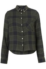 Topshop Stud Collar Check Shirt - Lyst