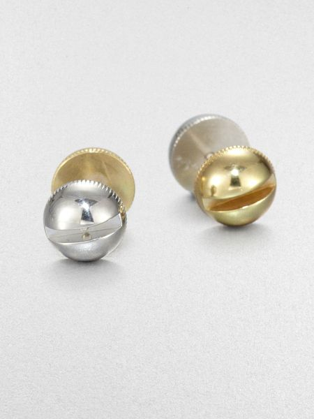 A.l.c. Two Tone Screw Stud Earrings in Silver