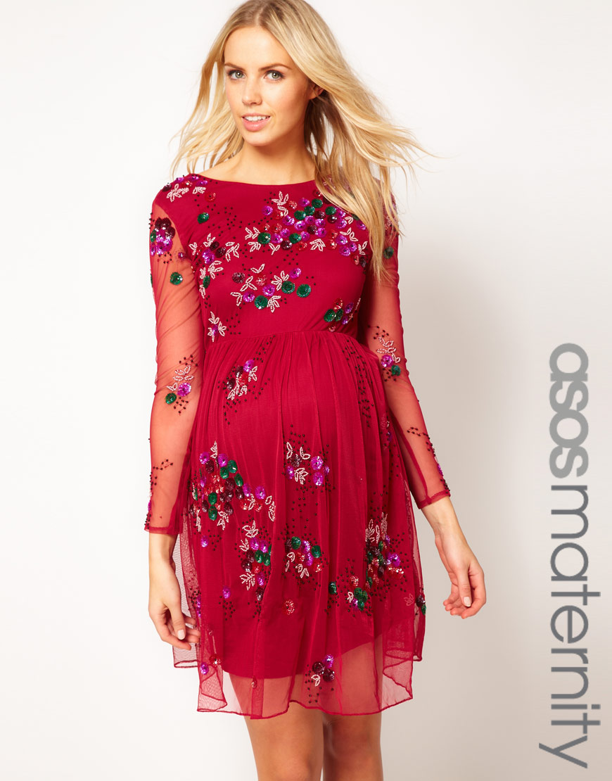 Lyst - Asos Skater Dress with Embellishment in Red