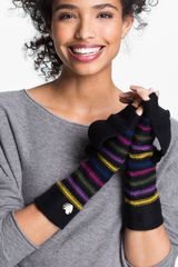 Betsey Johnson Pompom Party Fingerless Gloves - Lyst