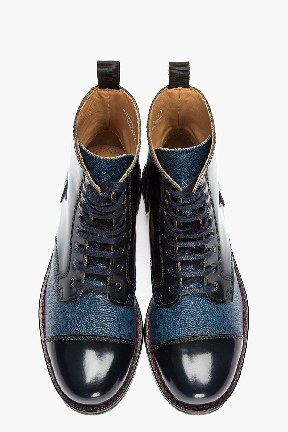 Carven Blue Pebbled Leather Chaus Montante Boots in Blue for Men ...