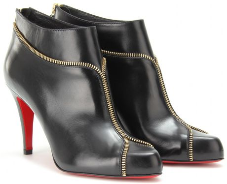 Christian Louboutin Colizip 85 Leather Ankle Boots in Black (gold)