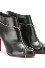 Christian Louboutin Colizip 85 Leather Ankle Boots in Black (gold) - Lyst